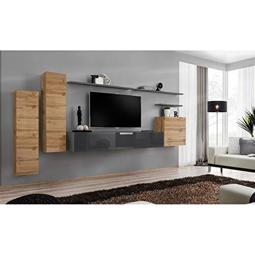 AC-Déco Ensemble Mural - Switch I - 3 Vitrines Verticales - 1 Banc TV - 3 étagères Murales - Bois Et Graphite - Modèle 1