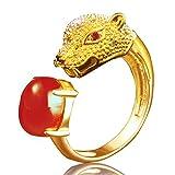 KQK Mujeres Anillo, Ajustable Anillos Forma leopardo Anillo,Circonita bañada en oro,Con caja de regalo (Gold)