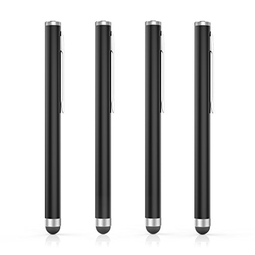 MoKo Stylus Pen(4PCS), Universal Capacitive Touch Screen Rubber Tip Digital Pen Compatible with iPad, iPhone, Samsung, Kindle, All Capacitive Touch Screen Devices Smartphones & Tablets - Black