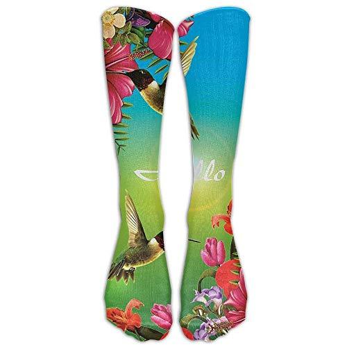 NA kolibrie logo knie hoge sokken casual kousen comfortabele novelty sport sokken maat 6-10 (één paar) 19.7in (50cm)