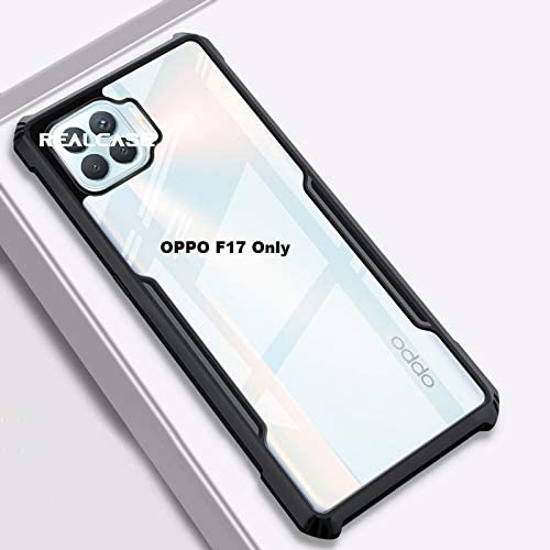 REALCASE Silica Gel Hard Clear Transparent Bumper Back Case Cover for Oppo F17 X Black