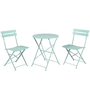 Grand patio 3-PCS Bistro-Set Indoor Outside Steel Foldable Modern Chairs Set and Desk,Macaron Blue