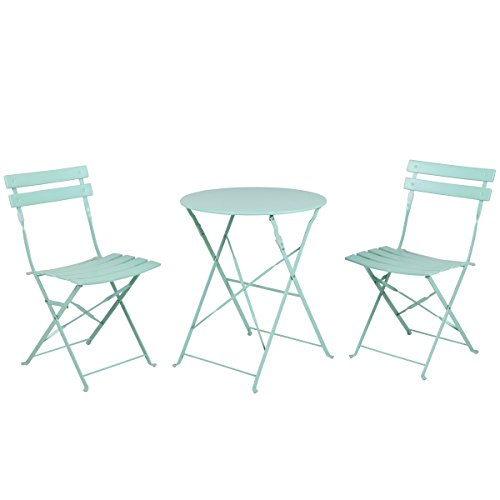 Grand patio Premium Steel Patio Bistro Set Folding Outdoor Patio Furniture Sets 3 Piece Patio Set of Foldable Patio Table and Chairs Mint Green