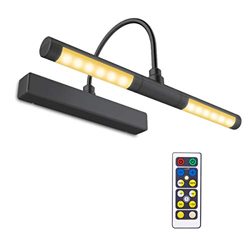 BIGLIGHT Wireless Battery Operated LED Picture Light with Remote, 13 Inches Rotatable Light Head with 3 Lighting Modes, Dimmable Display Lamp with Timer for Painting Picture Frame Portrait Art, Black