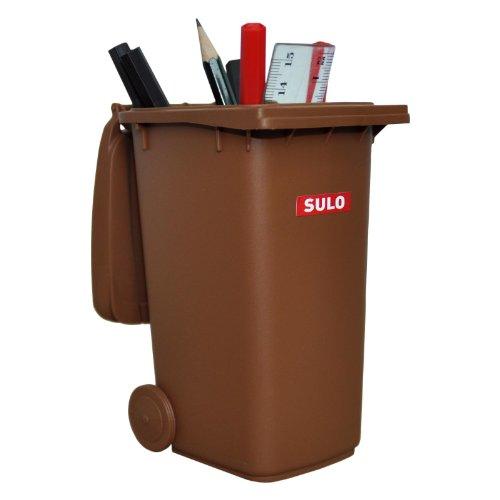 sulo Mini-Mülltonne original große Ausführung 240 Liter BRAUN Miniatur Behälter Aufbewahrung Tischmülleimer Stiftehalter Büro Spielzeug Sammlerstück