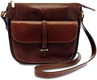 GIUDI ® - Borsa Donna in pelle vacchetta, vera pelle, borsa a spalla, tracolla,Made in Italy. (Marrone)