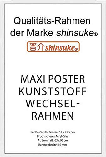 empireposter Wechselrahmen Shinsuke® Maxi-Poster 61,5x91cm Qualitätsrahmen, Profil: 15mm - Kunststoff Weiss, Acrylscheibe beidseitig foliengeschützt