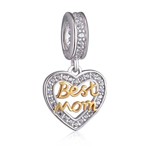 Best Mom Heart Bracelet Charms for Women - 925 Sterling Silver...