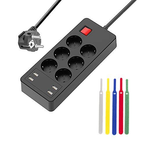 Regleta Enchufes de 6 Tomas Corrientes y 4 Rápida USB Tomas, Toma de Corriente con Protección contra Sobrecargas y Interruptores, Cable de 1.5M, 4000W/16A