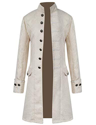 Mens Vintage Tailcoat Jacket Steampunk Victorian Uniforms Formal Tuxedo Coat Tie (XXL, Beige)