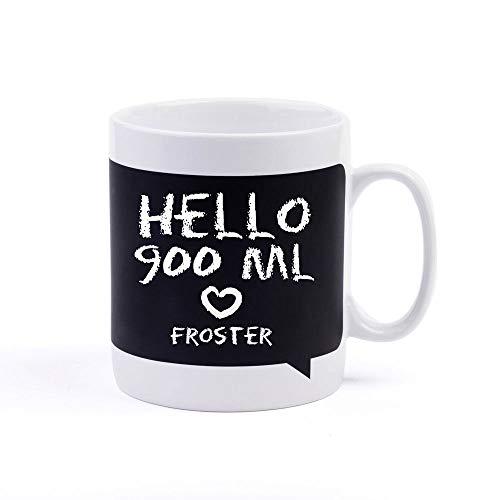 Froster Taza Gigante de Pizarra, Taza con pizarra, Dibuja o escribe en ella, XXL, 900 ml, Tiza incluida