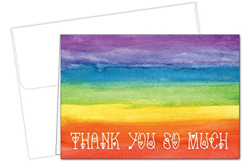 Rainbow Love Thank You Note Cards - 20 Cards & Envelopes