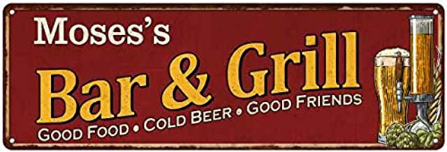 Moses's Bar and Grill Red Personalized Man Cave Decor 8x24 Sign 108240054212
