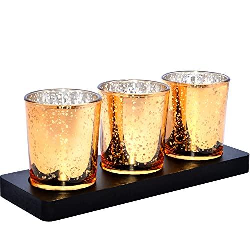justbelight Glas-Teelichthalter 3er-Set (Gold) mit Tablett, Moderne Teelichtgläser als Wohnzimmer-Deko, Geschenk zum Muttertag, Geburtstag, Weihnachten | Windlicht für Garten, Bad, Esstisch