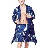 Bata De Kimono Casual De Satén para Hombre, Camisón De Manga Larga, Ropa De Dormir, Conjunto De Pijama con Pantalones Cortos,Azul,L