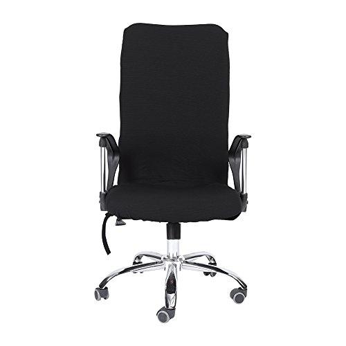 Housse pour Chaise De Bureau Moderne Style Polyester Amovible Extensible Pivotant Fauteuil Confortable Siège Bureau Ordinateur Étirable Rotatif Chaise Couverture Facile à Nettoyer 5 Couleurs(Black M)
