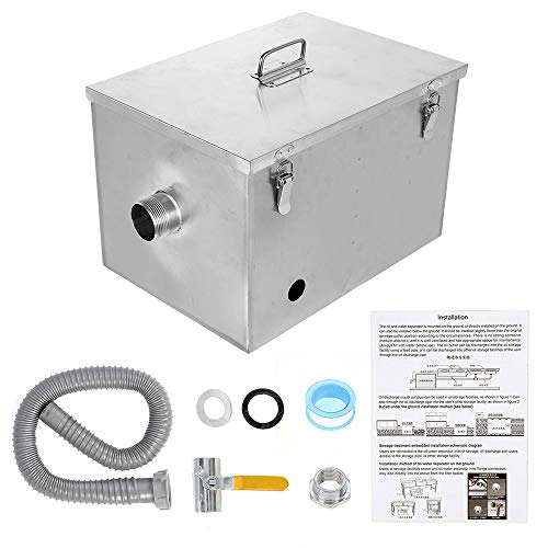BEAMNOVA 8lbs Commercial Grease Trap Stainless Steel Interceptor for Restaurant Side Inlet