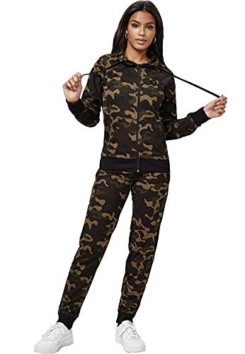 Damen Basic Trainingsanzug Fitness Jogginganzug Yoga Set Sweat Hoodie & Pants Sportanzug Big Size, Farben:Camo Grün, Größe:XS