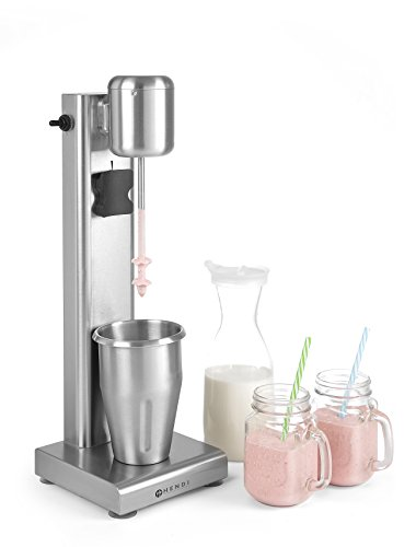 HENDI Milchshake Maker, Barmixer, Frappe Mixer, Getränkemixer, Inkl. 2 Mixbechers (Edelstahl und Polykarbonat), Milchshakes, 170x170x(H)520mm, Edelstahl