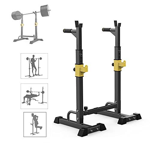 MNBVH Soporte Sentadillas Regulable, Estante de Barra con Pesas Ajustable para Barbell, Squat Rack Stand Gym para Fitness, Soporte para Barras de Pesas Bastidores de Peso Estante de Barra, Máx 250kg