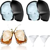 Large 3D Skull Ice Mold Large Silicone Skull Ice Trays with Silicone Funnels Halloween Skull Sugar Mold Day of the Dead Candy Chocolate Fondant Baking Mold for Party Favors (2 Pieces)