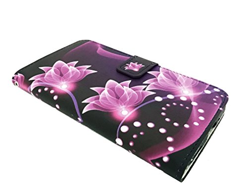 for LG X Charge M322 / LG Fiesta LTE L63BL L64VL Wallet Card Phone Cover Case + Gift Stand (Wallet Purple Lotus)