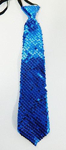 sans Cravate Bleu Brillante Disco Enfant 34cm Fête Mariage Déguisement Spectacle