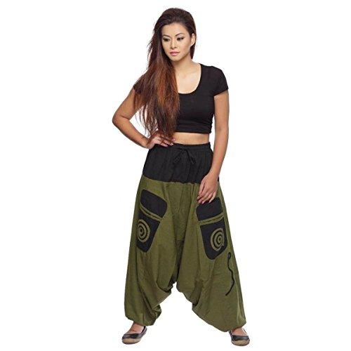 Simandra Haremshose Pumphose Aladinhose Pluderhose Yoga Goa Sarouel Baggy Aladin Freizeithose Damen (Grün-schwarz, S/M)