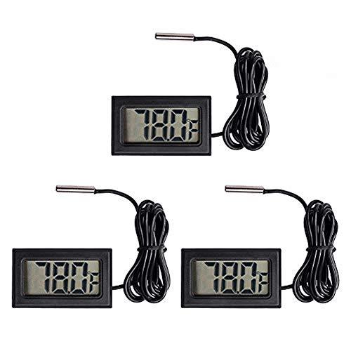 Organizer 3pcs Black Digital LCD Thermometer Temperature Monitor with External Probe for Fridge Freezer Refrigerator Aquarium (Fahrenheit)