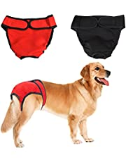 NACOCO 2 Pack Female Dog Diapers for Small Medium and Large Dogs, Adjustable and Leakproof Doggie Sanitary Panties, The Harassment of Pants and Safety Pants, Black&Red (M)