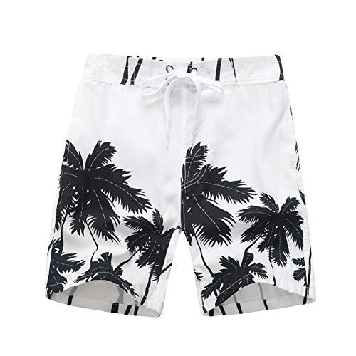 LAPLBEKE Niño Playa Bañador Moda Coconut Palm Print Kids Quinto pantalón Chicos Pantalones Cortos Shorts de Baño Blanco 5-6 Años