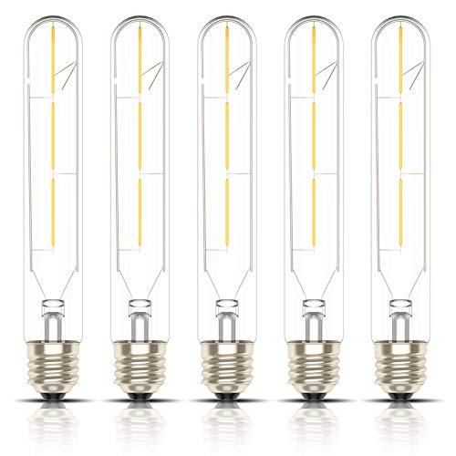 Kcwiau 5 Pezzi 3W T30 Edison Lampadine a filamento LED Attacco E27,Non Dimmerabile,Tubo lungo Vetro trasparente,Bianco Caldo 2200K,Lumen>300,AC 220V-240V[Classe di efficienza energetica A+]