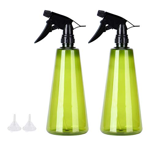 Queta 2 * Sprühgerät, Abzugssprühgerät aus 750 ml PET-Kunststoff, nachfüllbare Leere Sprühflasche + 2 Zusatztrichter, verwendet für alkoholdesinfizierende Pflanzen und Blumengarten-Friseursalon