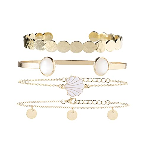 Sttiafay 4 piezas brazalete abierto para mujer con cuentas de concha de oro, cadena de lentejuelas, pulsera de muñeca para mujeres y niñas
