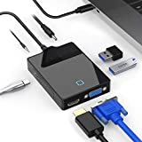 Rocketek USB C Docking Station, 7-in-1 USB C Hub Adapter with 4K HDMI, VGA, 2 USB3.0 Ports, Type C Sync Port, DC5V Power Plug, Audio Interface for MacBook pro, Surface pro 7 or Other Type C Device