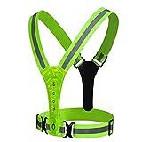 LED Reflective Vest Running Gear,High Visibility Warning Lights Adjustable Safety Vest for for Men Women Night Cycling,Hiking,Jogging,Dog Walking (Green)