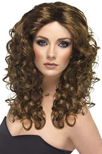 Smiffys Perruque glamour, brune, cheveux longs, bouclés