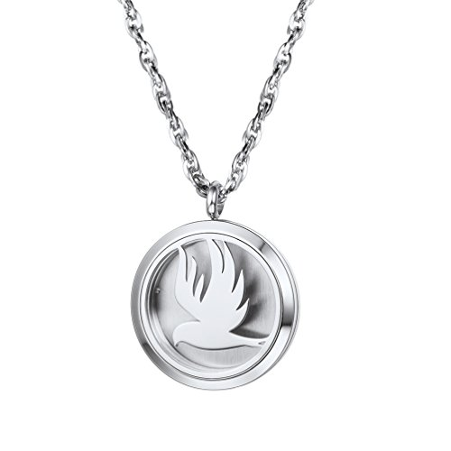 PROSTEEL Aromatherapy Diffuser Necklace Men Women Jewelry Stainless Steel Bird Locket Essential Oil Circle Pendant Necklaces