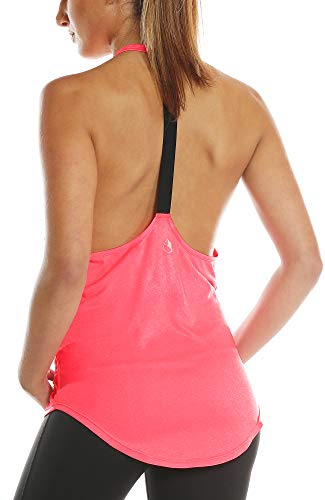 icyzone Damen Zumba Shirt Sport Top Lang - Rückenfrei Workout Gym Tanktop Yoga Oberteile (XS, Hot Pink)