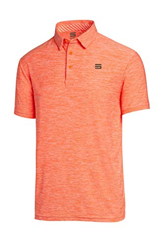 Three Sixty Six Golf Shirts for Men - Dry Fit Short-Sleeve Polo, Athletic Casual Collared T-Shirt Orange