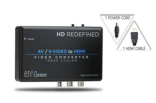 enKo products Mini AV RCA Composite & S-Video Video R/L Audio to HDMI Converter with High Speed HDMI Cable (6.5 Feet / 2 Meter)