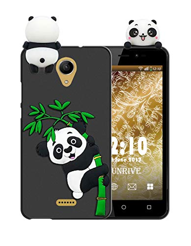 Sunrive Für Wiko Freddy Hülle Silikon, Handyhülle matt Schutzhülle Etui 3D Hülle Backcover Tiere Muster Cover Handy Tasche Bumper(W1 Panda 2)+Gratis Universal Eingabestift