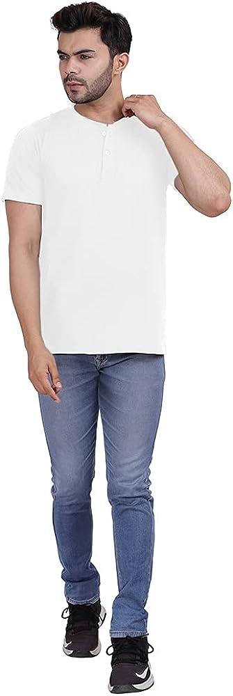 linure Men's Premium Supima Cotton Henley T-Shirt I Short Sleeve Soft Cool Touch Skin-Friendly Super Lightweight Tee