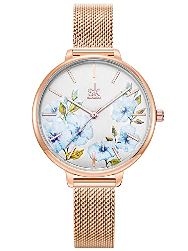 Alienwork Reloj Mujer Oro Rosa Banda de Malla Metálica Azul Ultra-Delgada Elegante