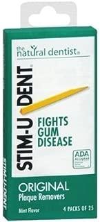 Stim-U-Dent Plaque Removers, Mint Flavor 4 - 25 packs [100 picks] (Pack of 5) by Revive