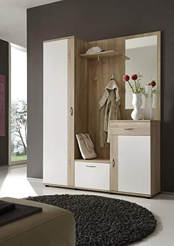 Stella Trading Garderobe Weiß Sonoma Eiche Nachbildung, Kompaktgarderobe, Stellmaß BxHxT 145 x 184 x 29 cm