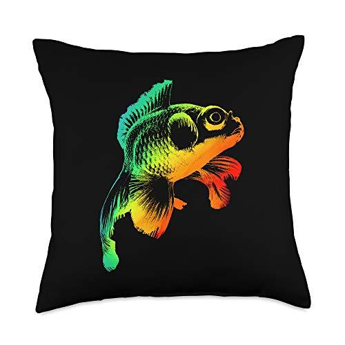 TeeRetro BLACK MOOR GOLDFISH Funny Gift, Rainbow Colorful Retro Throw Pillow, 18x18, Multicolor