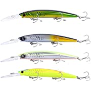 RUNCL Anchor Box - Crankbaits, Jerkbaits, Stick Baits, Popper Baits - Realistic Scale Pattern, 3D Lifelike Eyes, Hook Safety Caps - Wobbler Fishing Lures, Hard Lures, Deep/Shallow Divers (Pack of 4)