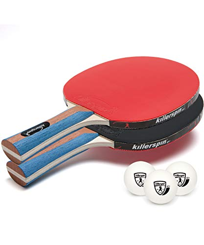 Killerspin JET Set 2 Table Tennis Paddles and Ping Pong Balls 2 Ping Pong Paddles and 3 Ping Pong Balls Great for Beginners and Kids Table Tennis Racket with Wood Blade Jet Basic Rubber Grips Ping Pong Balls – Red amp Black