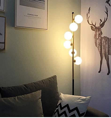 Koper Creative Glasbal Simple Staande Lamp Woonkamer Slaapkamer Home Decoration Verlichting Simple Creative Decoration Floor Lamp (Color : Warm White)
